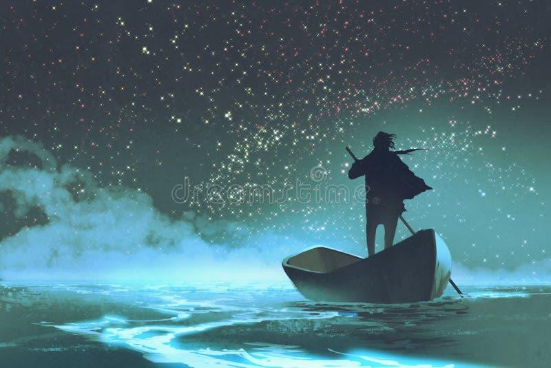 Sirva remar un barco en el mar debajo del cielo hermoso stock de ilustración