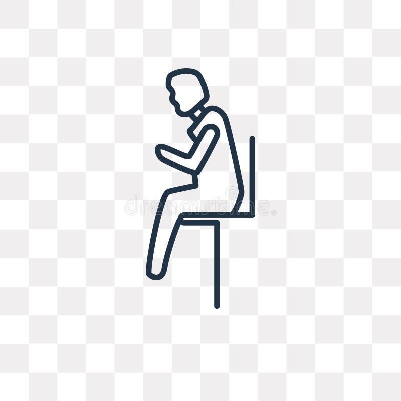 Sirva sentarse con el icono del vector del dolor de cabeza aislado en vagos transparentes libre illustration