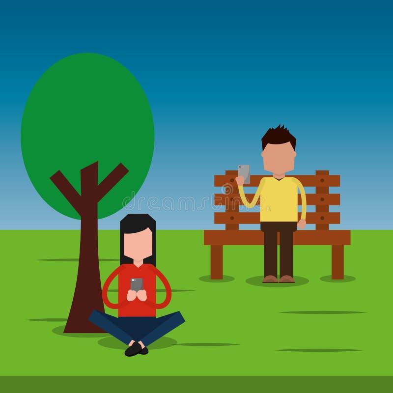 Sirva sentarse en el parque del banco y de la mujer que charla con smartphone stock de ilustración