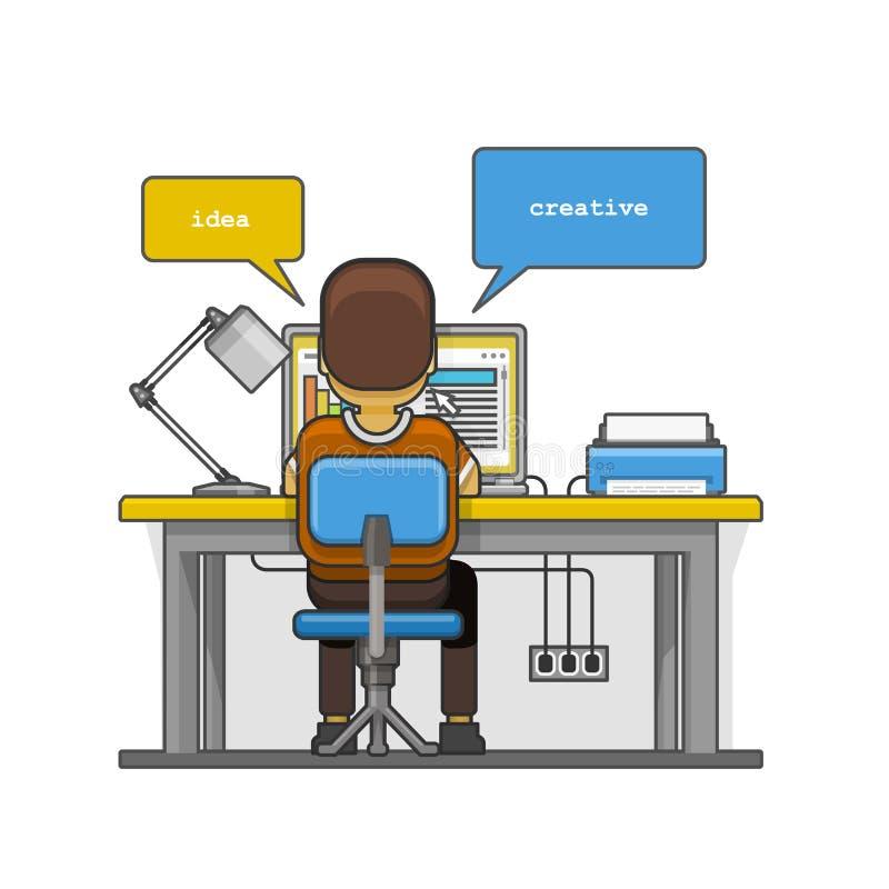 Sirva sentarse en la mesa y el trabajo en el ordenador libre illustration