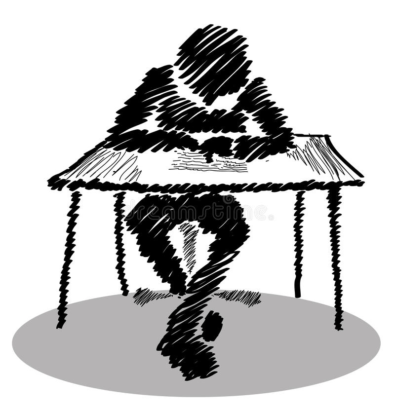 Sirva sentarse en una tabla que escribe una letra con sus piernas cruzadas stock de ilustración