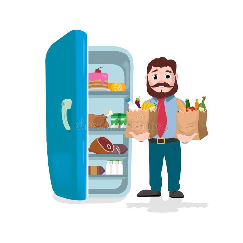 Sirva sostener las bolsas de papel llenas de frutas, de verduras y de productos de la panadería delante de un refrigerador stock de ilustración