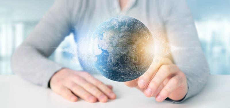 Sirva sostener un globo de la tierra de las partículas de la representación 3d foto de archivo