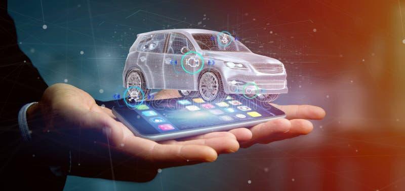 Sirva sostener un Smartcar con la representación de los checkings 3d imagenes de archivo