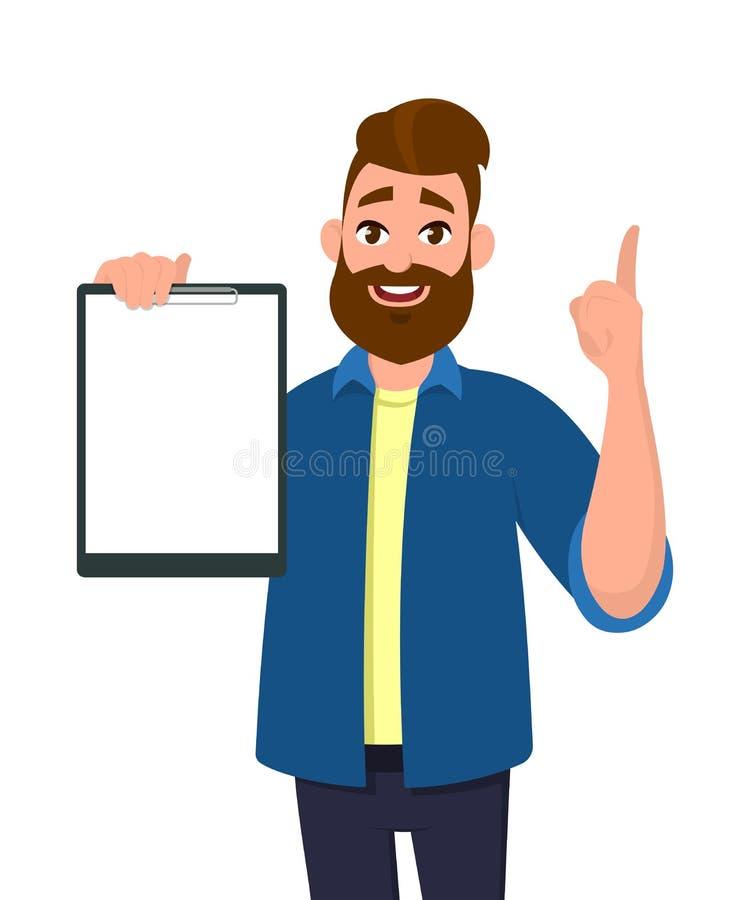 Sirva sostenerse/mostrando un tablero en blanco y destacando con el dedo índice stock de ilustración