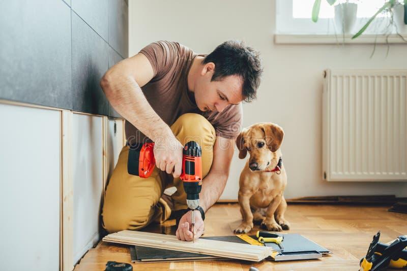 Sirva y su perro que hace el trabajo de renovación en casa imagenes de archivo
