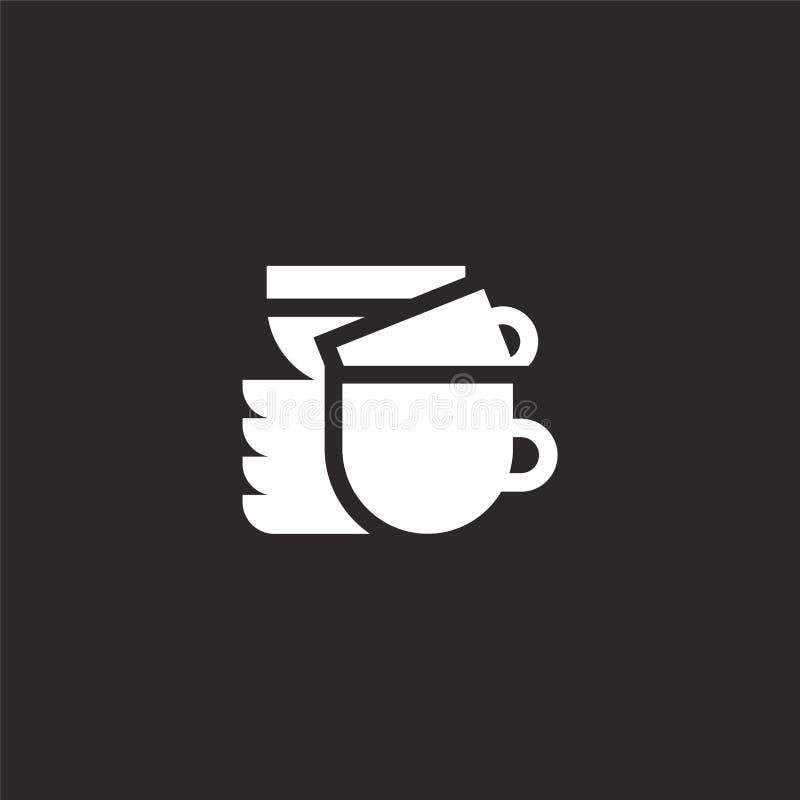 sirve el icono Icono llenado de los platos para el diseño y el móvil, desarrollo de la página web del app icono de los platos de  stock de ilustración