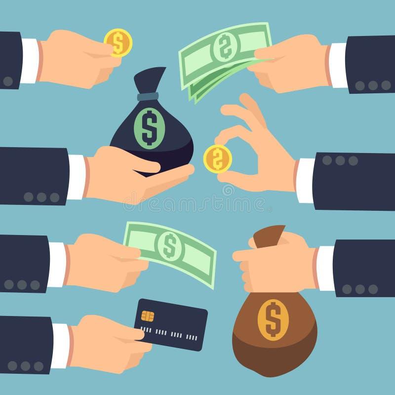 Sirve la mano que sostiene efectivo, monedas, billetes de banco y la tarjeta de crédito Sistema del vector de los iconos el pagar ilustración del vector