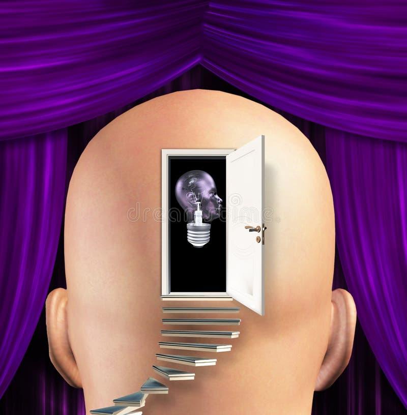 Sirve la mente abierta en la bombilla humana ilustración del vector