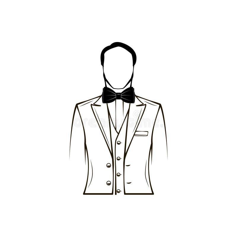 Sirve la silueta Traje del ` s de los hombres de la boda, smoking Corbata de lazo prepare Elemento del diseño Vector ilustración del vector