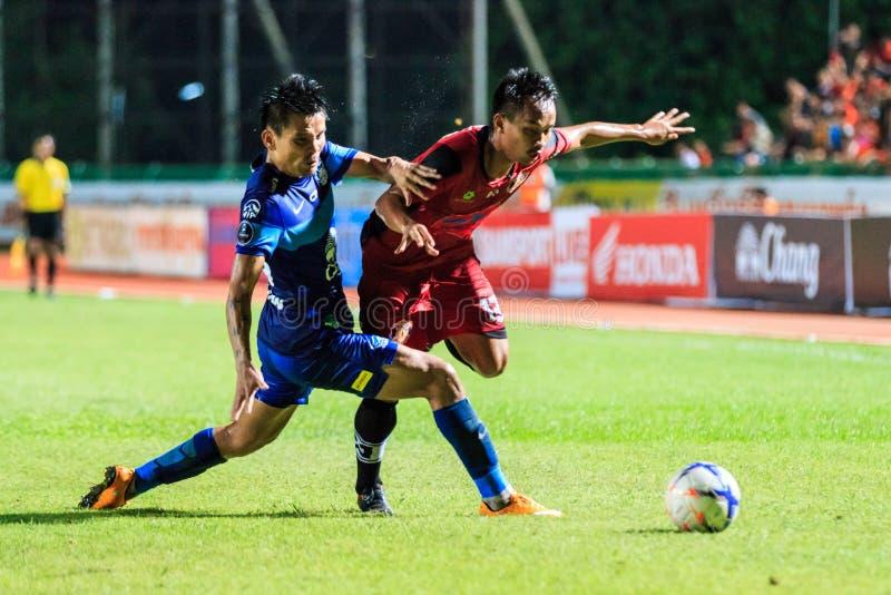 SISAKET TAILÂNDIA 12 DE AGOSTO: Kaneung Buransook de Sisaket FC (cr imagens de stock royalty free