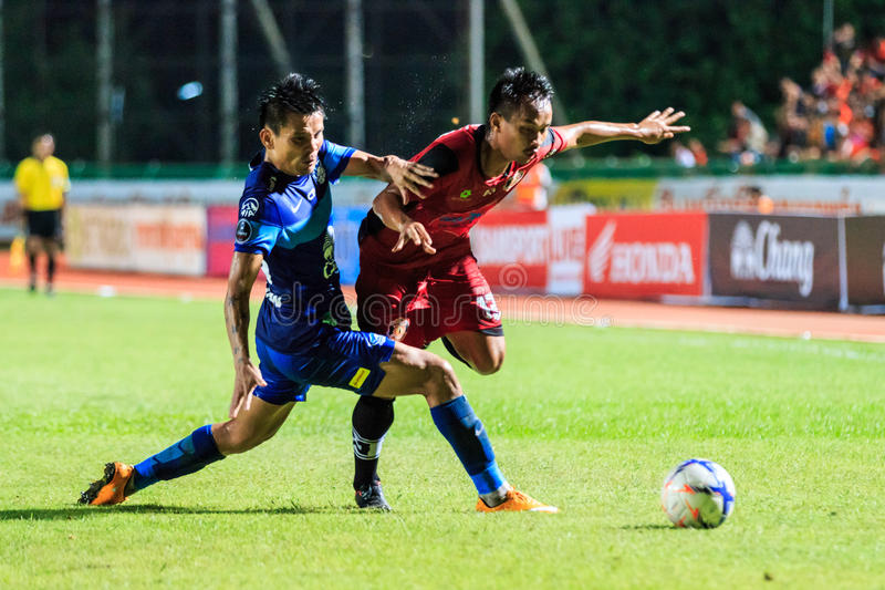 SISAKET TAILANDIA 12 AGOSTO: Kaneung Buransook di Sisaket FC (Cr immagini stock libere da diritti