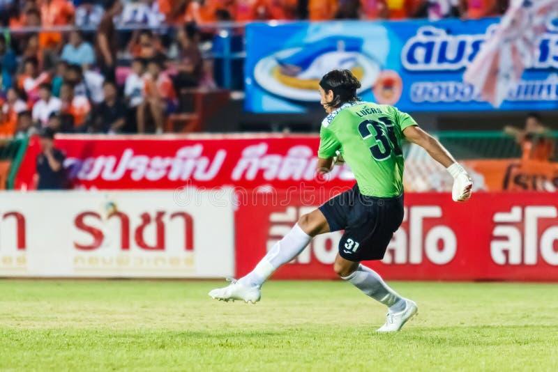 SISAKET TAILANDIA 28 DE MAYO: Lucas Daniel de Sisaket FC imagen de archivo libre de regalías