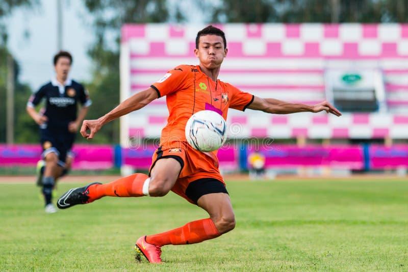 SISAKET THAILAND-September 21: Santirat Viang-in of Sisaket FC. In action during Friendly Match between Sisaket FC and Roi Et Utd at Sri Nakhon Lamduan Stadium stock images