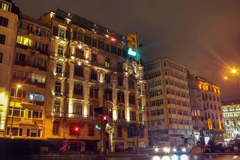 Sishane Historic And Modern Buildings Beyoglu Istanbul. Sishane Historic And Modern Buildings Night Scenes Beyoglu Istanbul, Turkey stock images