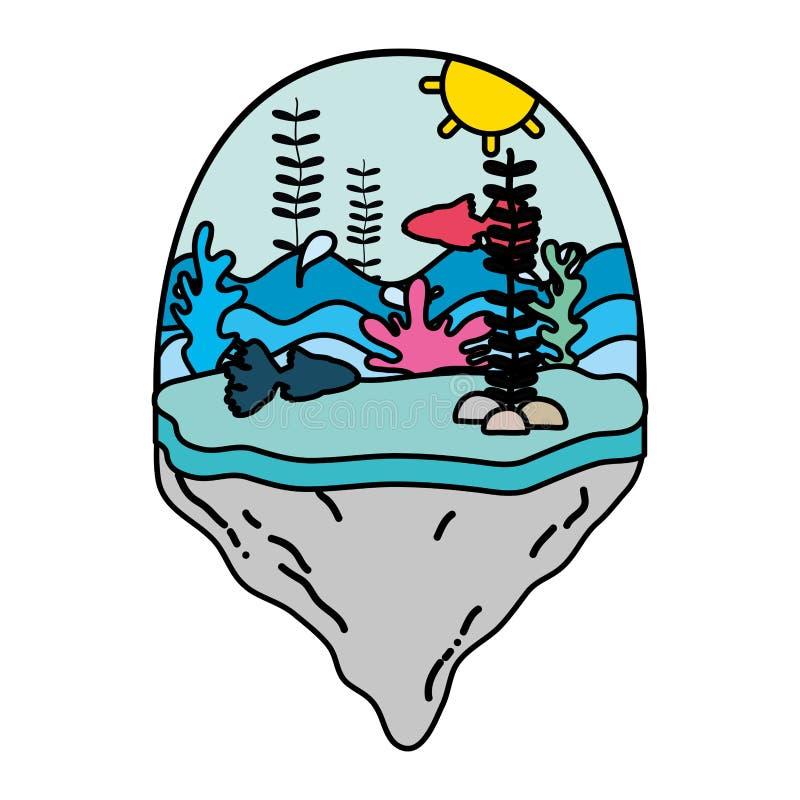 Sishes y alga marina de la bailarina del color en la isla del flotador libre illustration