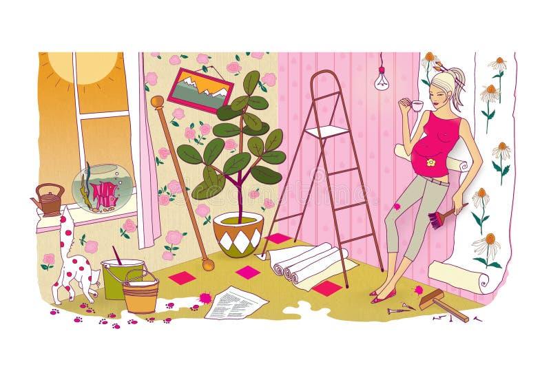 Sista förberedelser för födelsen av ett barn En gravid kvinna med en enorm buk gör reparationer och beträffande-limmar tapeten ka stock illustrationer