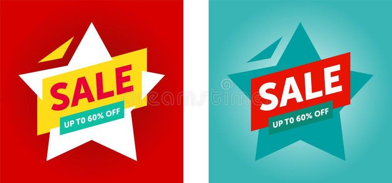 Sista försäljningsbaner för specialt erbjudande, upp till 60% av ocks? vektor f?r coreldrawillustration royaltyfri illustrationer