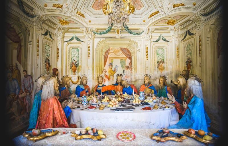 Sista kvällsmål av Jesus Christ - biblisk platsframställningspresepe royaltyfri bild