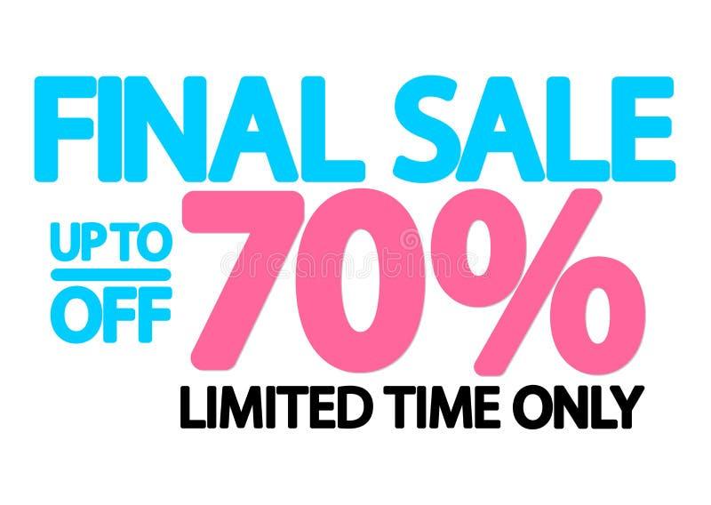 Sista Sale upp till 70% av, affischdesignmall, vektorillustration stock illustrationer