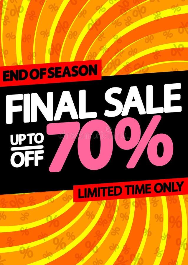 Sista Sale upp till 70% av, affischdesignmall, vektorillustration vektor illustrationer