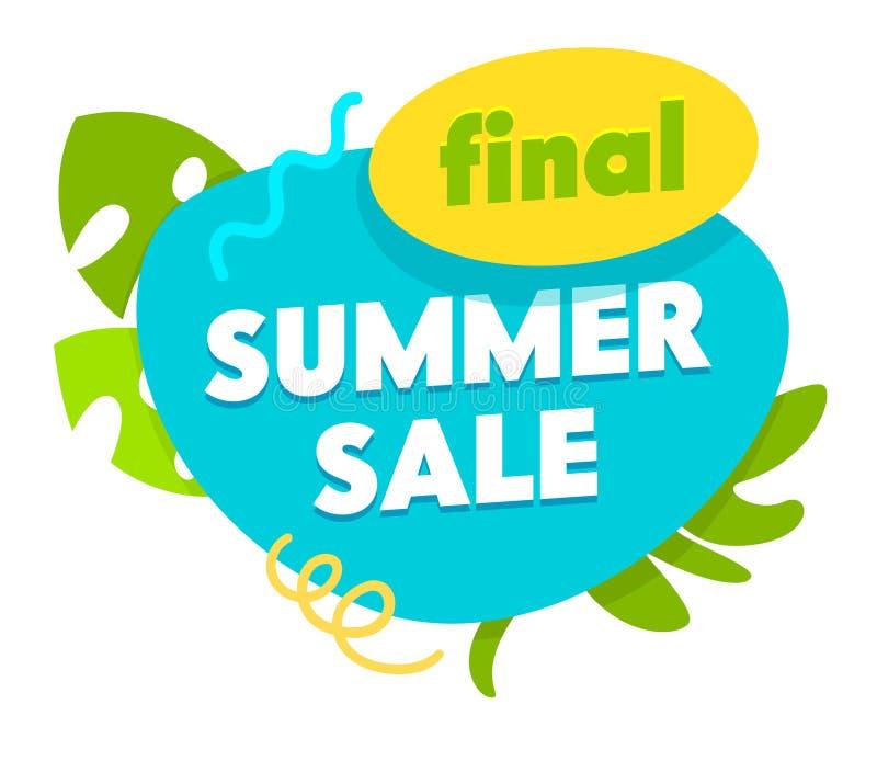 Sista sommarSale baner, etikett för specialt erbjudande, symbol med palmblad som isoleras på vit bakgrund, Promo som annonserar a vektor illustrationer