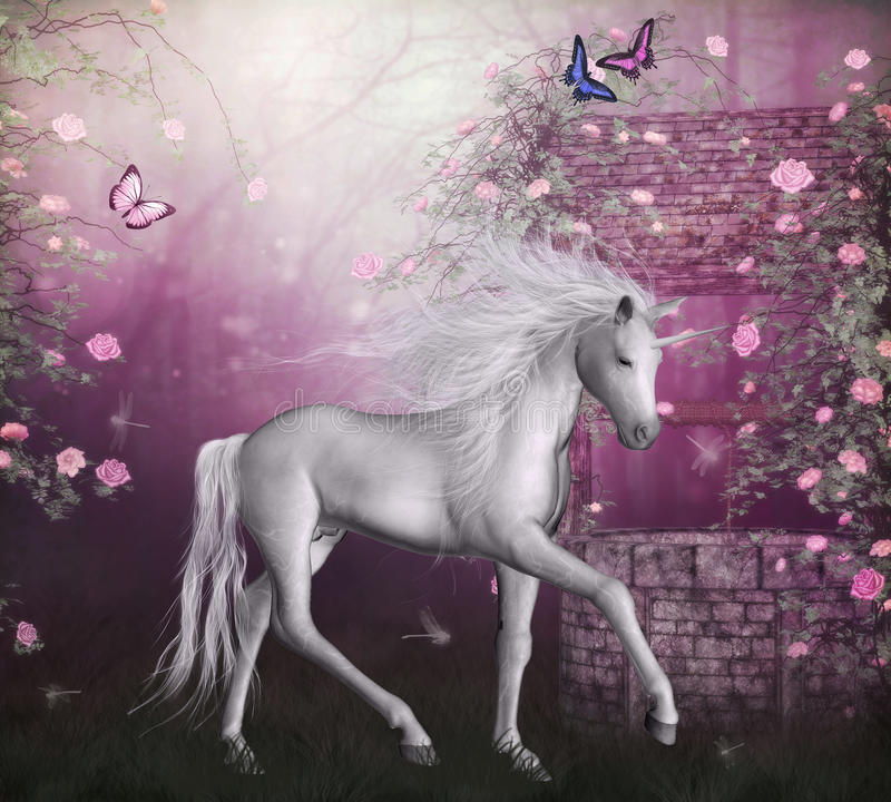 sista unicorn royaltyfri illustrationer