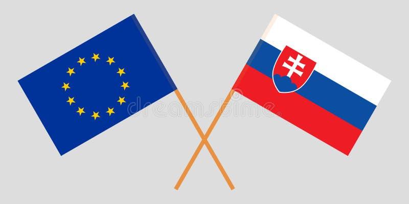 Sistani i UE Slovakian i europejczyk flagi Oficjalni kolory Poprawna proporcja wektor ilustracja wektor
