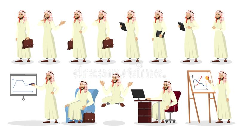 Sistema árabe del hombre de negocios Colección de hombre árabe stock de ilustración