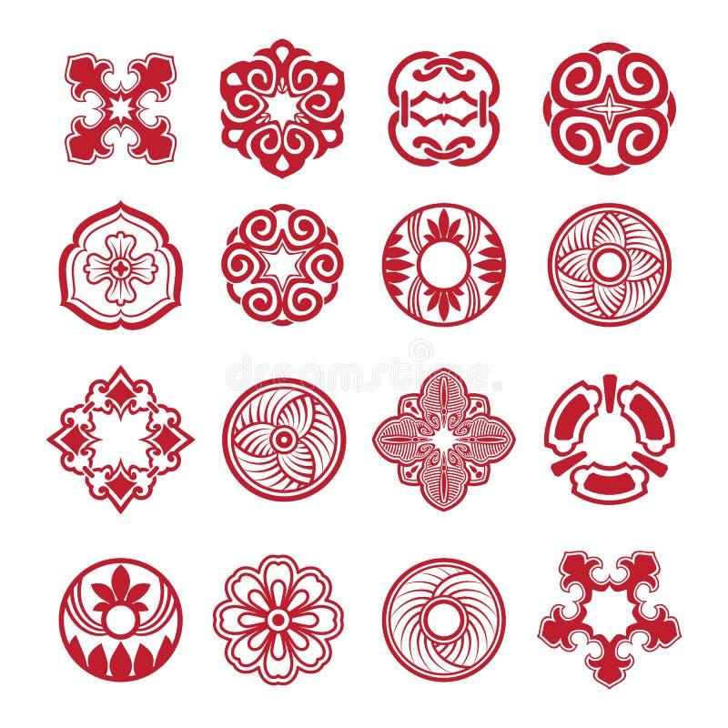 Sistema étnico abstracto del vector de los símbolos stock de ilustración