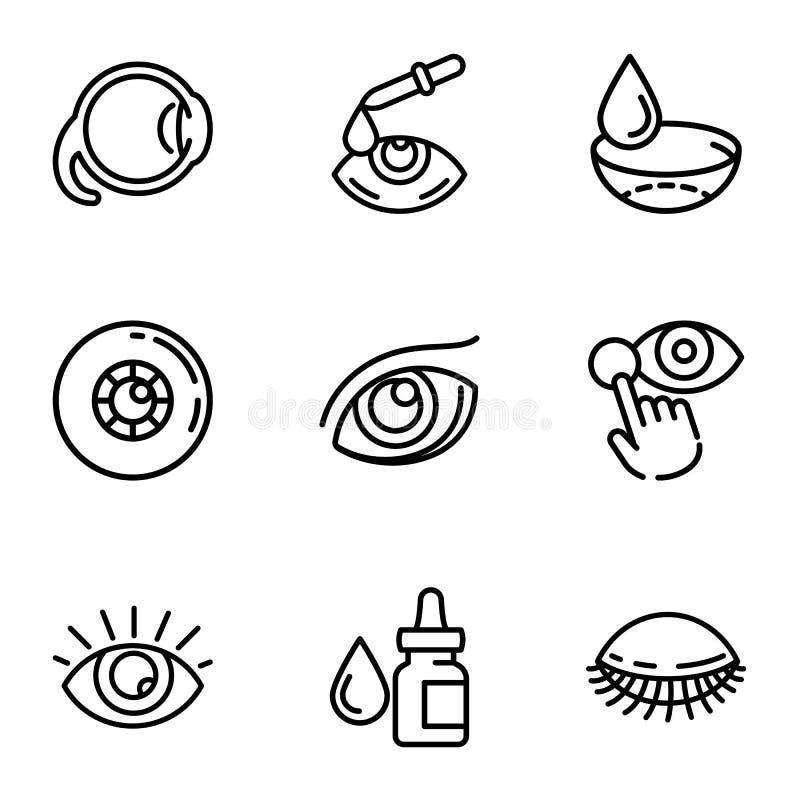 Sistema óptico del icono del cuidado del ojo, estilo del esquema libre illustration