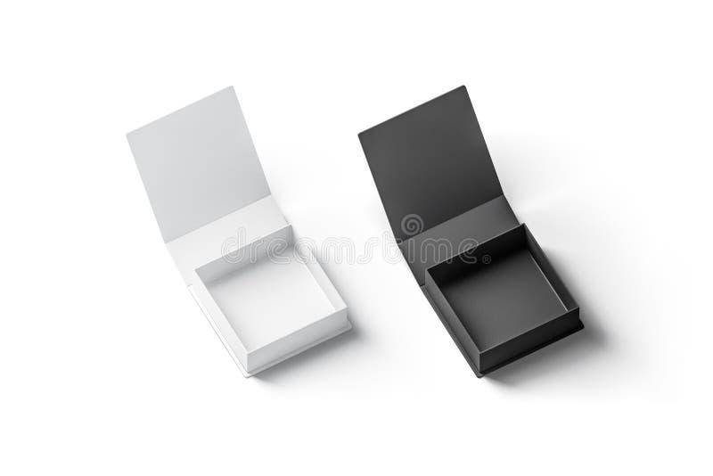 Sistema abierto blanco y negro de la maqueta de la caja de regalo del espacio en blanco, aislado stock de ilustración