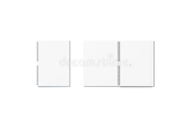 Sistema abierto del espacio en blanco y cerrado blanco de la maqueta del cuaderno, aislado ilustración del vector