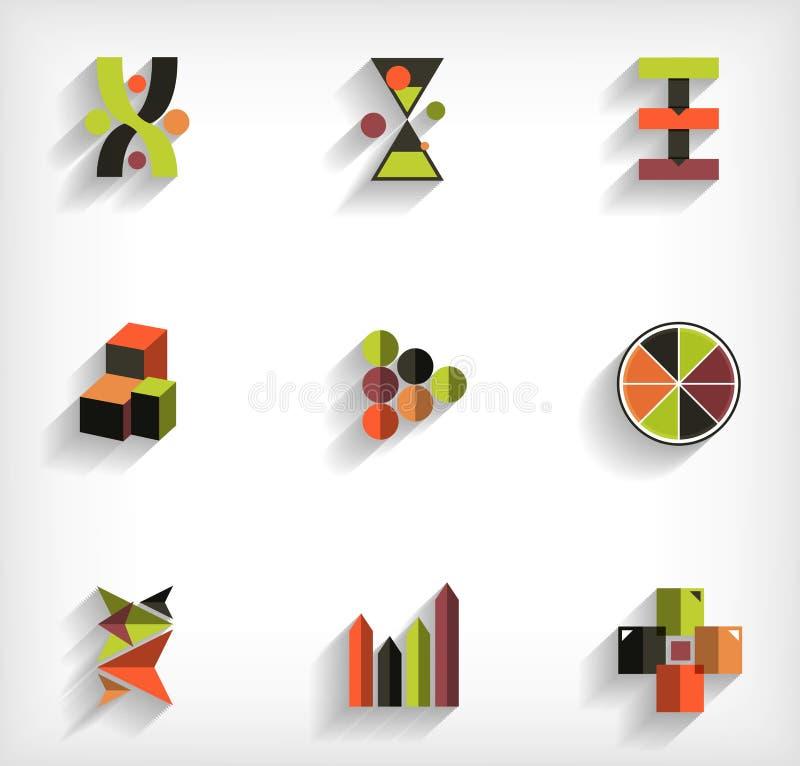 sistema abstracto completamente geométrico del icono del negocio 3d ilustración del vector
