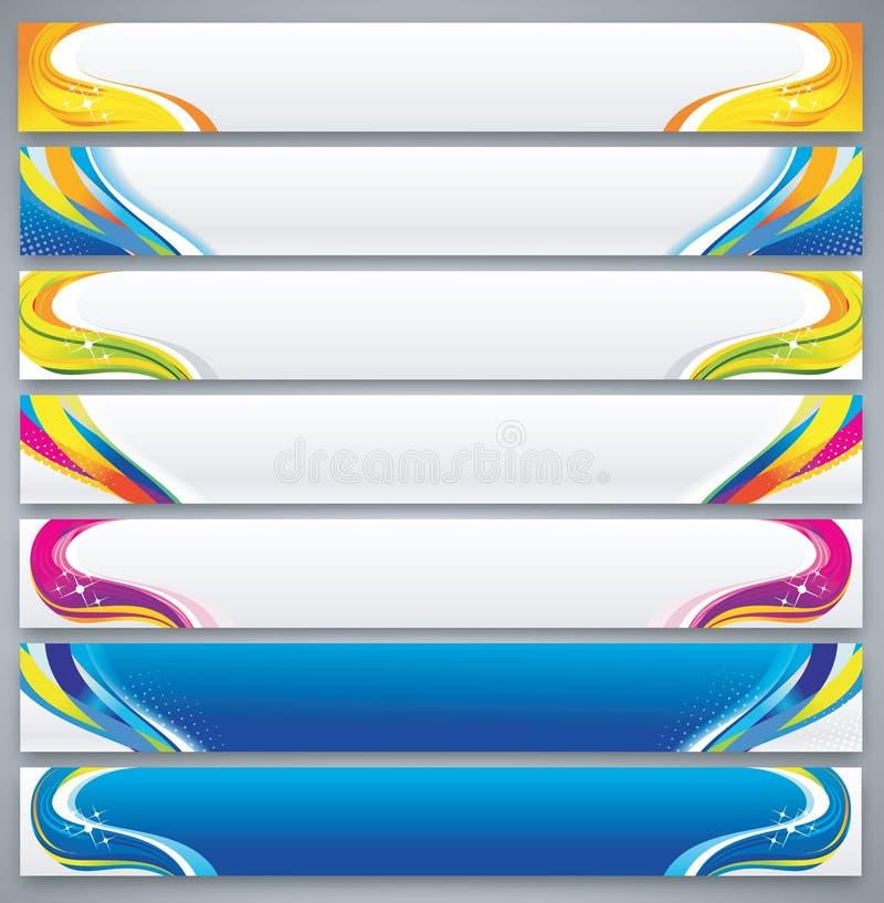 Sistema abstracto de la bandera del color stock de ilustración