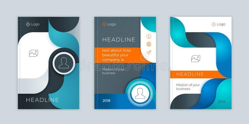Sistema abstracto de la plantilla del negocio del vector La disposición del folleto, cubre el informe anual del diseño moderno, c libre illustration