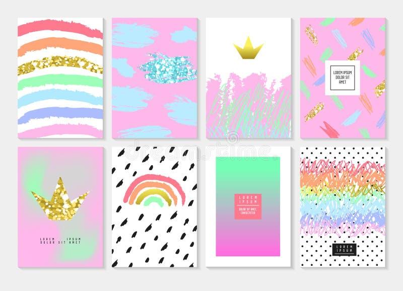 Sistema abstracto de la plantilla de la tarjeta con brillo de oro y elementos dibujados mano rosada Diseño de la invitación del f ilustración del vector