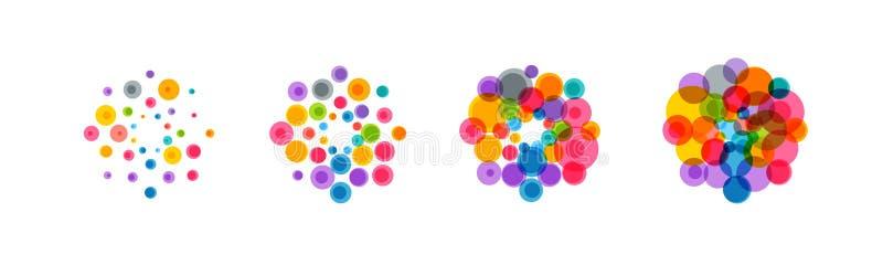 Sistema abstracto del icono del virus Bacterias coloridas, microbios, hongos Los virus patógenos se multiplican División celular  ilustración del vector