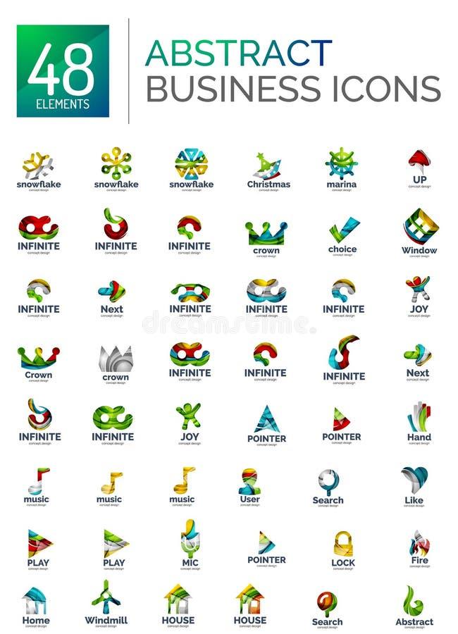 Sistema abstracto del logotipo, colección de iconos geométricos modernos del negocio, línea que fluye estilo de la forma stock de ilustración