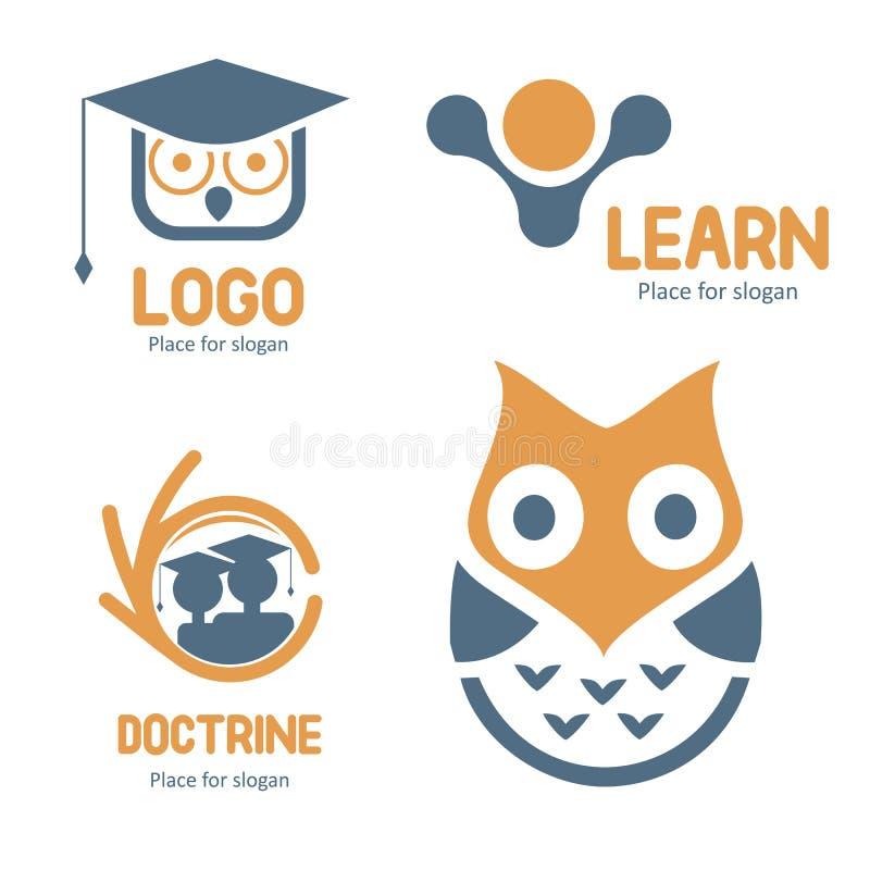 sistema abstracto del logotipo del vector que estudia Colección de los logotipos del carácter del búho de la historieta Iconos de ilustración del vector