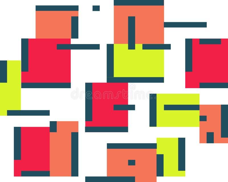 Sistema abstracto geométrico del fondo del color de cuadrados y de líneas ilustración del vector