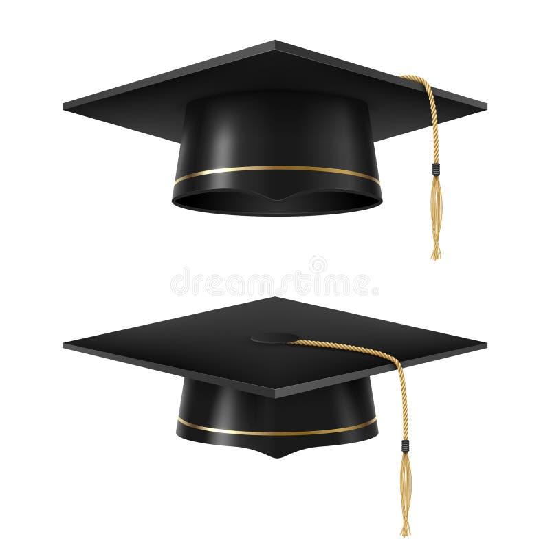 Sistema académico negro graduado del casquillo, estilo realista stock de ilustración