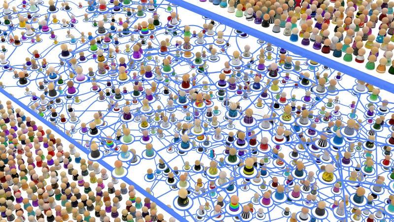 Sistema acodado de la muchedumbre de la historieta en medio ilustración del vector
