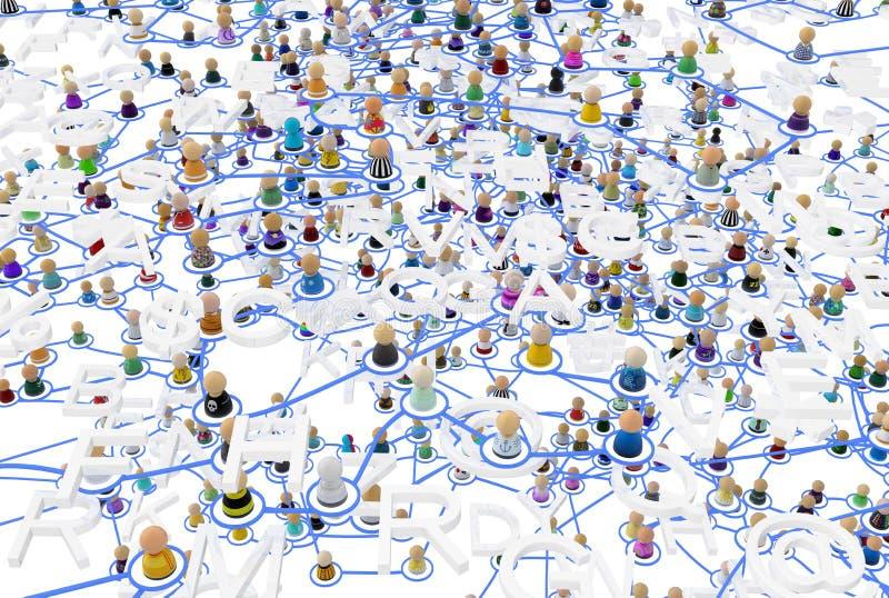 Sistema acodado de la muchedumbre de la historieta, palabras ilustración del vector