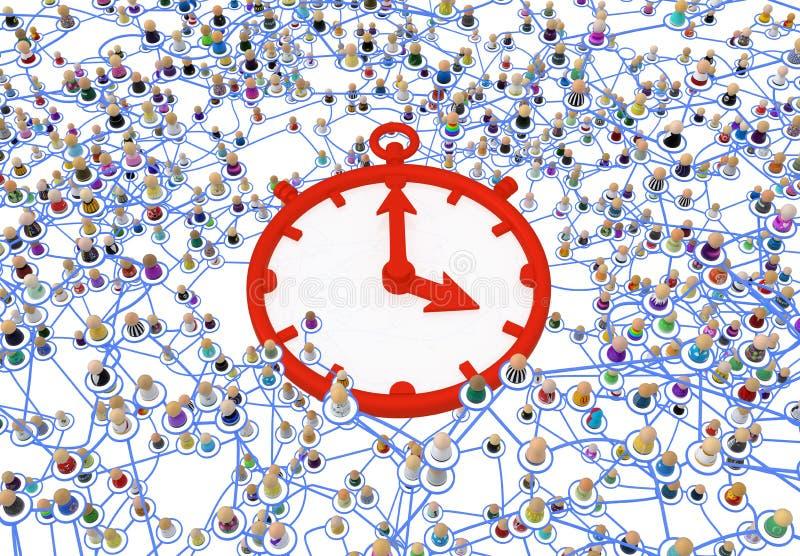 Sistema acodado de la muchedumbre de la historieta, tiempo rojo stock de ilustración