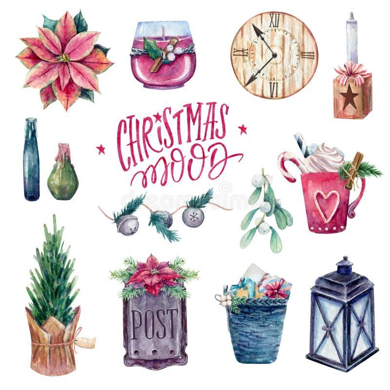 Sistema acogedor de elementos de la Navidad stock de ilustración