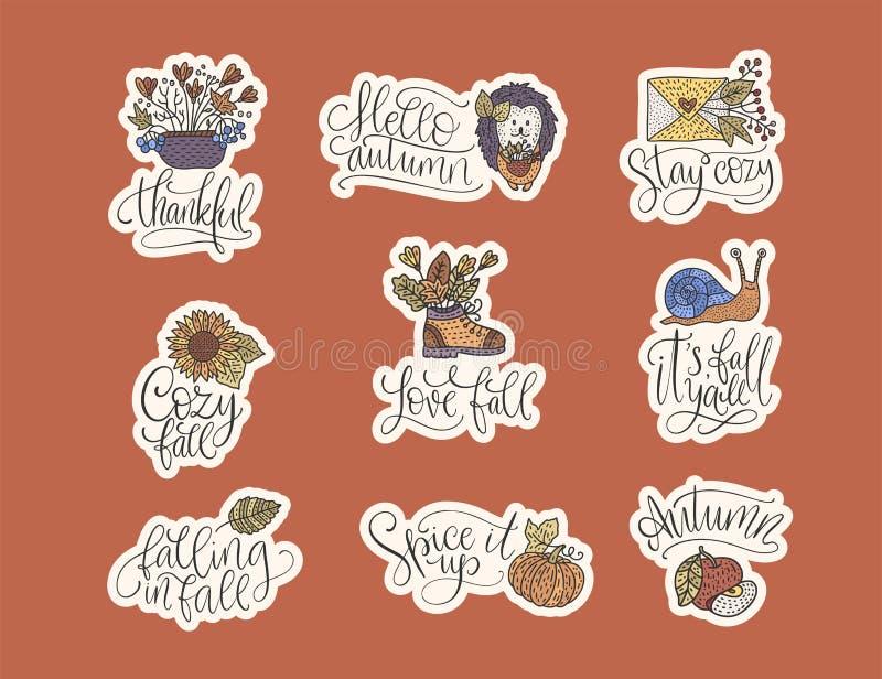 Sistema acogedor de las letras del vector de la caída Citas dibujadas mano del otoño stock de ilustración