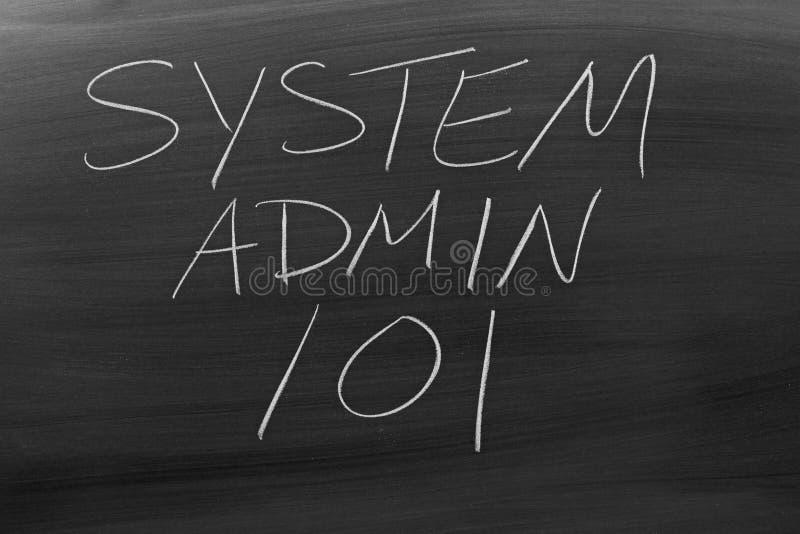 Sistema Admin 101 em um quadro-negro imagem de stock