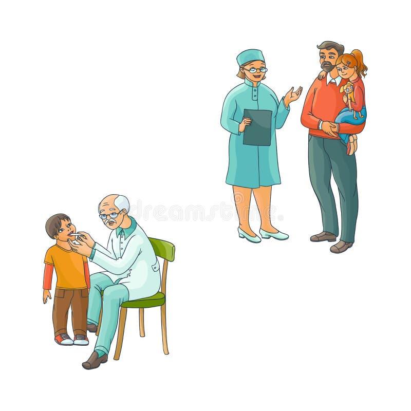 Sistema adolescente de la escena de los niños del doctor de sexo femenino plano del vector stock de ilustración