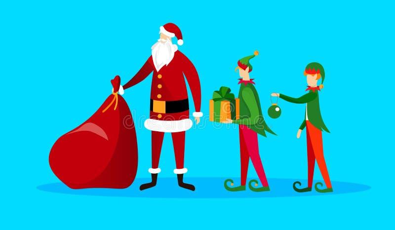 Sistema adorable de los caracteres de la Navidad Santa y duendes stock de ilustración